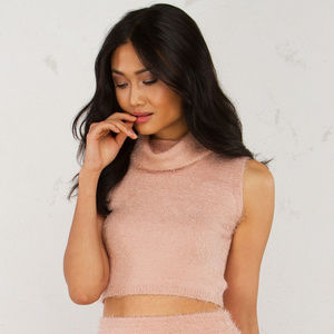 Akira Black Label Pink Turtleneck Crop Top Tank